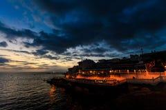 Teneriffa-Landschaft - Costa Adeje-Nacht Stockfotografie