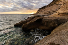 Teneriffa-Landschaft - Costa Adeje-Sonnenuntergang Stockfotografie