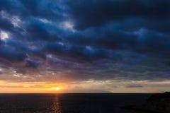 Teneriffa-Landschaft - Costa Adeje-Sonnenuntergang Lizenzfreies Stockfoto