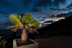 Teneriffa-Landschaft - Costa Adeje-Sonnenuntergang Stockbild