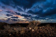 Teneriffa-Landschaft - Costa Adeje-Sonnenuntergang Stockfotos