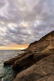 Teneriffa-Landschaft - Costa Adeje-Sonnenuntergang Lizenzfreie Stockbilder