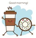 Tenersi per mano della tazza e della ciambella di caffè Sorridere sveglio di kawaii e caratteri amichevoli Illustrazione di conce illustrazione di stock