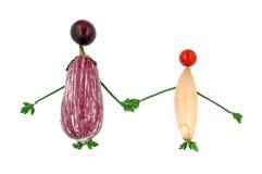 Tenersi per mano di verdure sano felice della famiglia Fotografia Stock