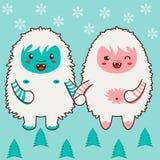 Tenersi per mano felice delle coppie degli yeti Singole mattonelle di una struttura o di un modello Fotografia Stock