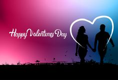 Tenersi per mano variopinto delle coppie di Valentine Day Background Black Silhouette Immagine Stock
