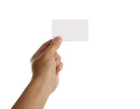 Tenez la carte de visite professionnelle vierge de visite Image libre de droits