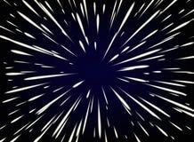 Tenez le premier rôle la chaîne ou l'hyperespace avec l'espace libre au centre, lumière de concept en mouvement d'étoiles illustration de vecteur