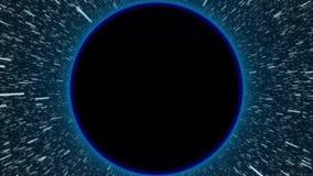 Tenez le premier rôle la rotation en trou noir et volez rapidement dans l'animation de vitesse de la lumière - vidéo fraîche de n illustration de vecteur