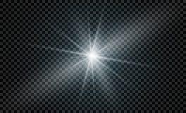 Tenez le premier rôle sur un fond transparent, effet de la lumière, illustration explosion avec des étincelles Photos libres de droits