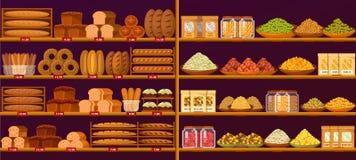 Tenez-vous à la boutique ou au magasin avec du pain et des céréales Illustration de Vecteur