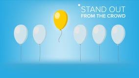 Tenez-vous du vecteur de foule Ballon exceptionnel de vol sur la lumière différente d'autre blanc de réussite d'isolement par con illustration libre de droits