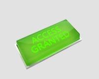 Tenga acceso al botón concedido Foto de archivo libre de regalías