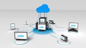 Tenga acceso a la animación computacional del servicio de la nube stock de ilustración