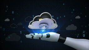 Tenga acceso a la seguridad de fichero de la nube, caja fuerte abierta de la nube desbloquee la carpeta en la palma del cyborg de libre illustration