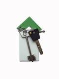 Tenga acceso a la tarjeta y a las llaves en el fondo blanco Fotografía de archivo libre de regalías