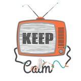 Tenga calmo - vecchia TV con lo schermo di impulso errato, illustrazione di vettore Immagini Stock Libere da Diritti
