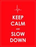 Tenga insegna di rallentamento e calma Fotografie Stock Libere da Diritti