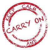 Tenga la calma e Carry On Stamp Fotografia Stock
