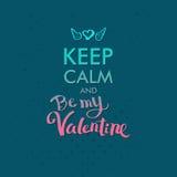 Tenga la calma e Valentine Concept su verde blu Fotografia Stock