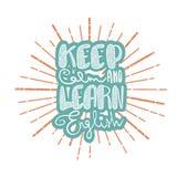 Tenga la calma ed impari l'inglese illustrazione vettoriale
