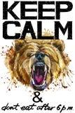 Tenga la calma Illustrazione del watercolorr dell'orso grigio royalty illustrazione gratis