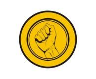 Tenga la moneta di logo della mano Immagini Stock Libere da Diritti