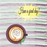 Tenga un gran día Cartel de la motivación con el texto inspirado y una taza de café Plantilla del diseño de la cita Foto de archivo