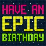 Tenga un mensaje épico del cumpleaños en pixeles de 8 bits stock de ilustración