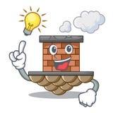 Tenga una chimenea del ladrillo de la idea siguiente el tejado de la historieta stock de ilustración