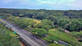 Tengah forest. Aerial view of Tengah forest beside Jurong East, cut through by Pan Island Expressway and Jurong Road in Singapore Stock Photography
