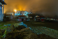 Tengboche buddhist monastery building lights at night, Nepal. Royalty Free Stock Photos