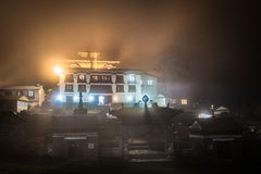 Tengboche buddhist monastery building lights at night, Nepal. Royalty Free Stock Photography