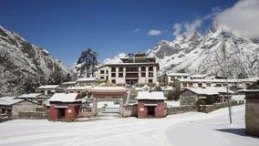 Tengboche Monastery in Nepal. TengbocheTengboche Monastery timelapse, Tengboche, Everest region in Himalaya, Nepal stock footage
