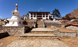 Tengboche Monastery with stupa Royalty Free Stock Image