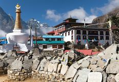 Tengboche monastery with stupa and prayer mani wall Royalty Free Stock Images