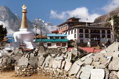 Tengboche monastery with stupa and prayer mani wall Stock Photography