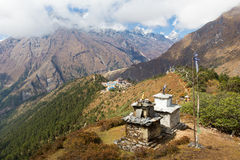 Tengboche mountains village buildings high view . Stock Photography