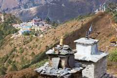 Tengboche mountains village buildings high view . Royalty Free Stock Image
