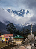 Tengboche with Peak of Mount Everest in the Distance Stock Photography