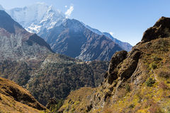 Tengboche village monastery and Kangtega mountain. Royalty Free Stock Photos