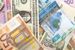tenge рублевки hrivnya евро Стоковая Фотография