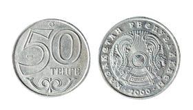 50 tenge Cazaquistão 2000 anos Objeto isolado em um fundo branco Fotografia de Stock Royalty Free