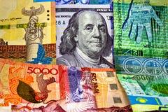 Tenge de Kazajistán del dinero y el dólar de EE. UU. Imagen de archivo