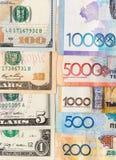 Tenge en de Amerikaanse dollars van geldkazachstan Royalty-vrije Stock Foto