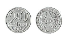 20 tenge il Kazakistan 2000 anni Oggetto isolato su una priorità bassa bianca Fotografia Stock