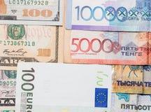 Tenge. Money of Kazakhstan. Dollars. Euro. Stock Image