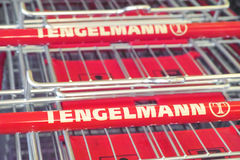 Tengelmann shopping carts Stock Image