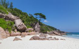 Tenger Anse-strand op La Digue Seychellen royalty-vrije stock fotografie
