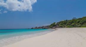 Tenger Anse-strand op La Digue Seychellen stock foto